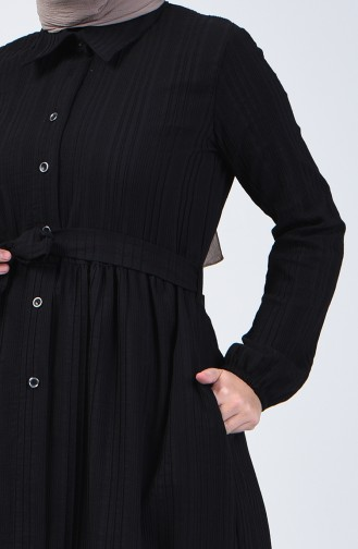 Geknöpftes Kleid mit Band 0014D-01 Schwarz 0014D-01