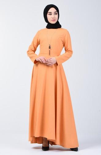 فستان مع قلادة خردلي 5132-02