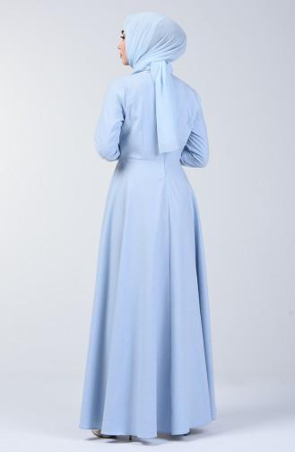 Kolyeli Elbise 5132-12 Buz Mavi