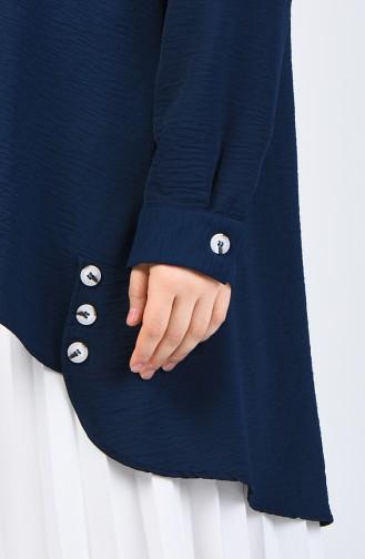 Plus Size Aerobin Fabric Tunic 8309-07 Navy Blue 8309-07