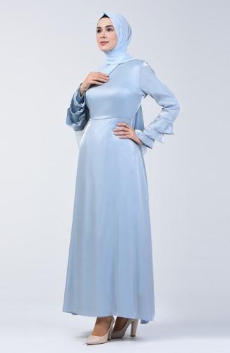 Kolu Volanlı Jakarlı Elbise 8165-01 Bebek Mavisi