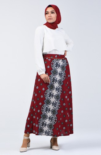 Elastic Waist Patterned Skirt 1067-03 Claret Red 1067-03