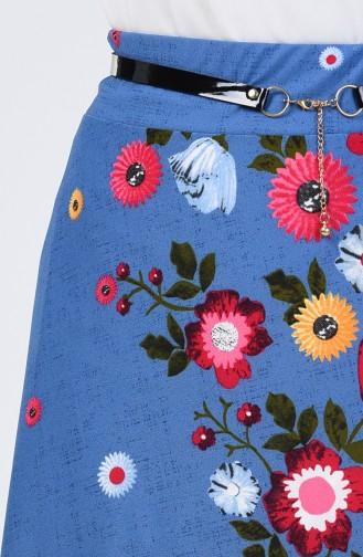 Elastic Waist Belted Skirt 1074A-02 Indigo 1074A-02