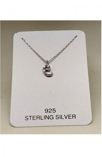 Ladies Silver Necklace MHK007 White 007