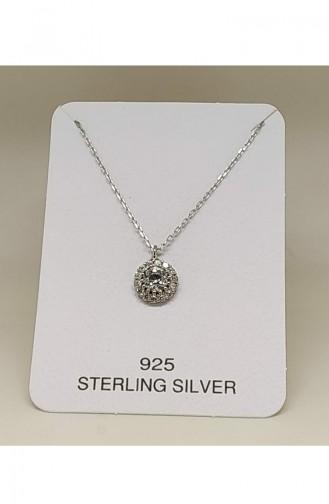 Ladies Silver Necklace MHK008 White 008