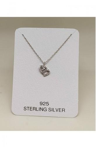 Bayan Gümüş Kolye MHK011 Beyaz 011