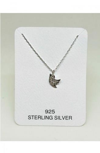 Bayan Gümüş Kolye MHK017 Beyaz 017