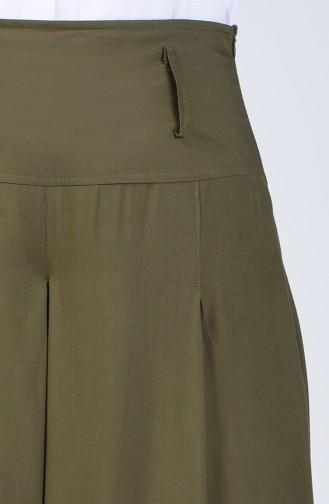 Viskon Pantolon Etek 6436-06 Haki Yeşil