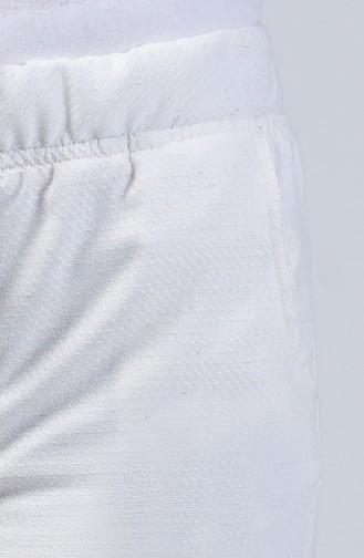 Beli Lastikli Yazlık Pantolon 8006A-01 Ekru 8006A-01