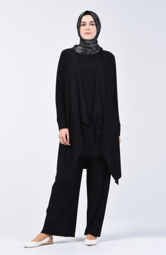 Pleated Sandy Tunic Trousers Double Suit 2050-01 Black 2050-01