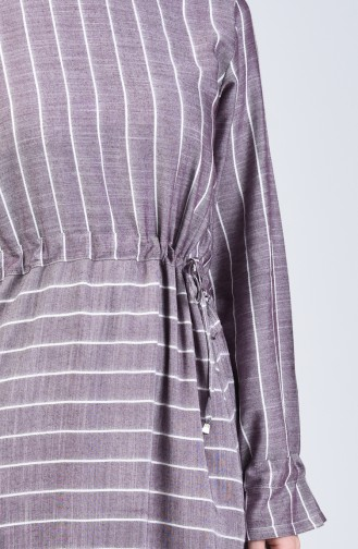 Robe Viscose à Rayures 4500-01 Bordeaux 4500-01