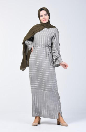Çizgili Viskon Elbise 4500-02 Haki