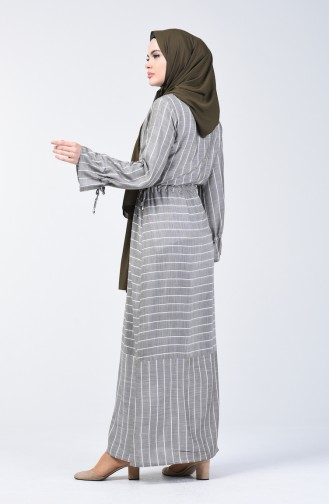 Robe Viscose à Rayures 4500-02 Khaki 4500-02