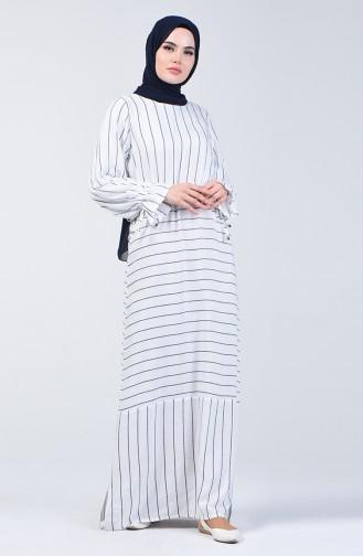 Robe Viscose à Rayures 4500-03 Blanc 4500-03