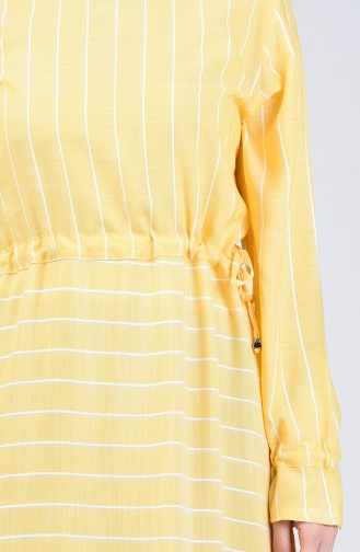 Çizgili Viskon Elbise 4500-06 Sarı
