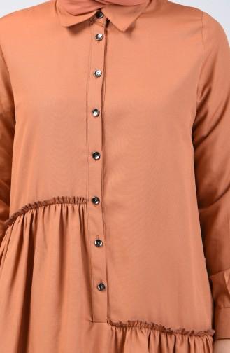 Büzgü Detaylı Elbise 3144-01 Bisküvi
