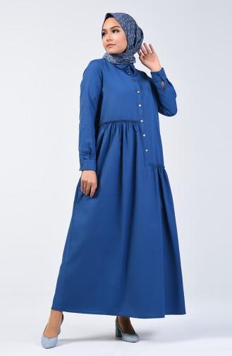 Büzgü Detaylı Elbise 3144-03 İndigo