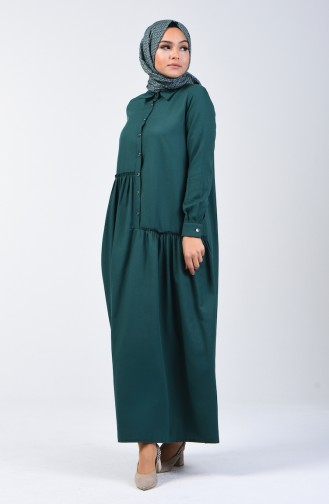 Shirring Detail Dress 3144-04 Emerald Green 3144-04