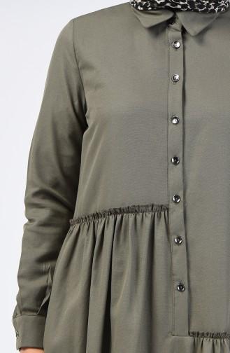 Büzgü Detaylı Elbise 3144-05 Haki