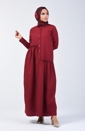 Büzgü Detaylı Elbise 3144-07 Bordo