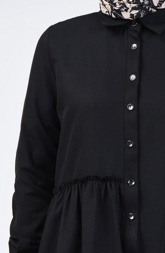 Shirring Detailed Dress 3144-08 Black 3144-08