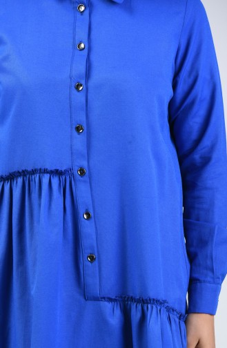 Büzgü Detaylı Elbise 3144-09 Saks