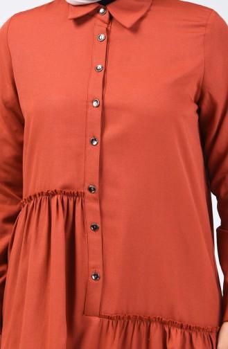 Büzgü Detaylı Elbise 3144-10 Kiremit