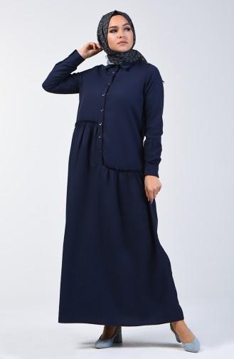Shirring Detailed Dress 3144-11 Navy Blue 3144-11