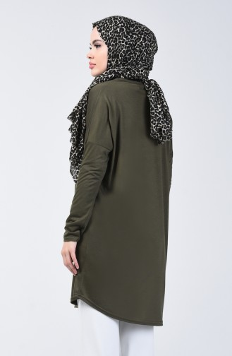 Plain Tunic with Necklace 1268-06 Dark Khaki 1268-06