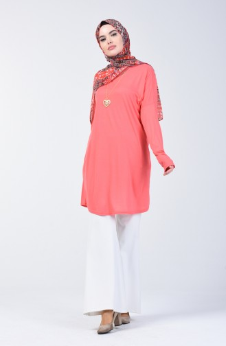 Plain Tunic with Necklace 1268-07 Coral 1268-07