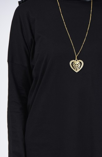 Plain Tunic with Necklace 1268-08 Black 1268-08