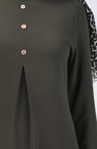 A Pile Crepe Tunic 0119-01 Khaki 0119-01