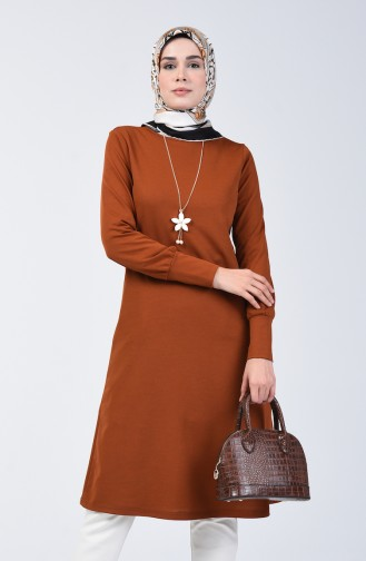 Long Tunic with Necklace 3047-04 Tobacco 3047-04