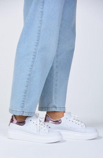 Bayan Spor Ayakkabı 1800-06 Beyaz Bronz