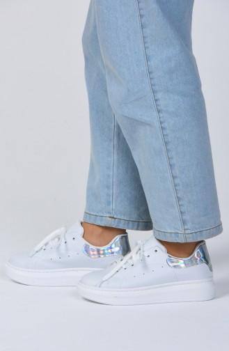 Bayan Spor Ayakkabı 1800-04 Beyaz Gümüş