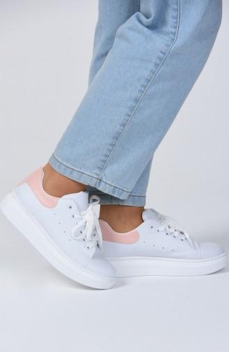 Bayan Spor Ayakkabı 1800-03 Beyaz Pudra