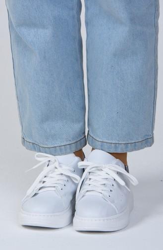 Bayan Spor Ayakkabı 1800-01 Beyaz Siyah