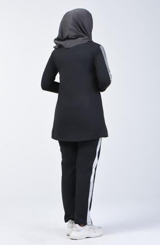 Şeritli Garnili Eşofman Takım 6004-03 Antrasit