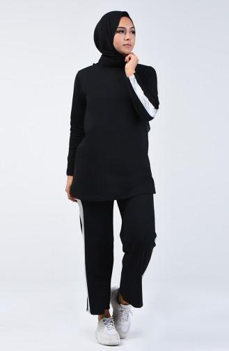 بدلة رياضية مزينة بشريط أسود 6004-04