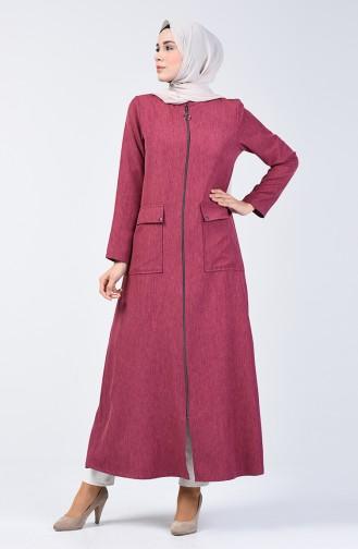 Abaya mit Reissverschluss 2107-02 Puder Rosa 2107-02
