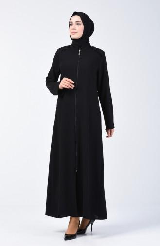 Krepp Abaya mit Reissverschluss 1053-01 Schwarz 1053-01