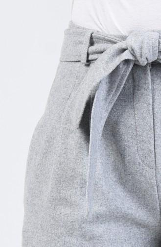 Pantalon en Molleton Avec Ceinture 9004-01 Gris 9004-01