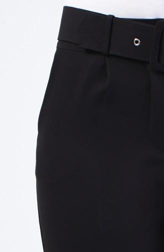 Kemerli Düz Paça Pantolon 0909-04 Siyah