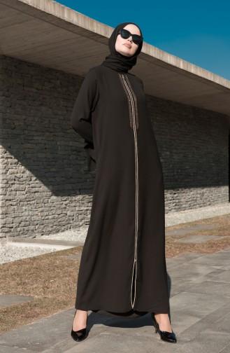 Taş Baskılı Ferace 8155-01 Siyah