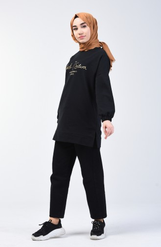 Elastic Sleeve Sweatshirt 1100-04 Black 1100-04