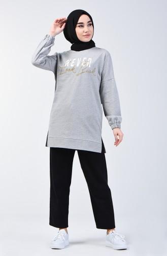Baskılı Sweatshirt 1200-01 Gri