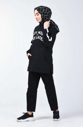 Kapüşonlu Sweatshirt 1300-04 Siyah