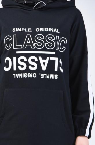Yazı Baskılı Sweatshirt 1600-04 Siyah
