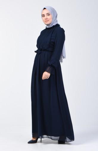 فستان بأكمام مطاط كحلي 81594-06