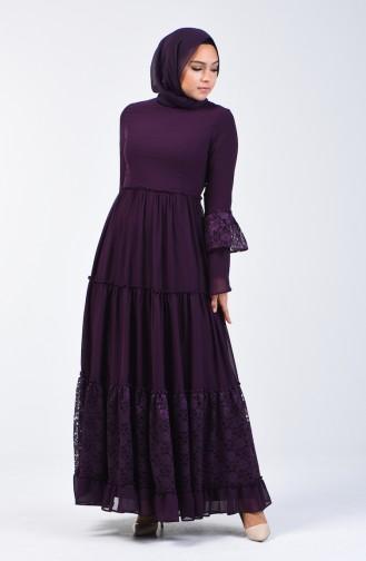Dantel Detaylı Elbise 81674-03 Mor